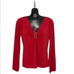 🆕NWT Michael Kors Red Currant Long Sleeve Blouse